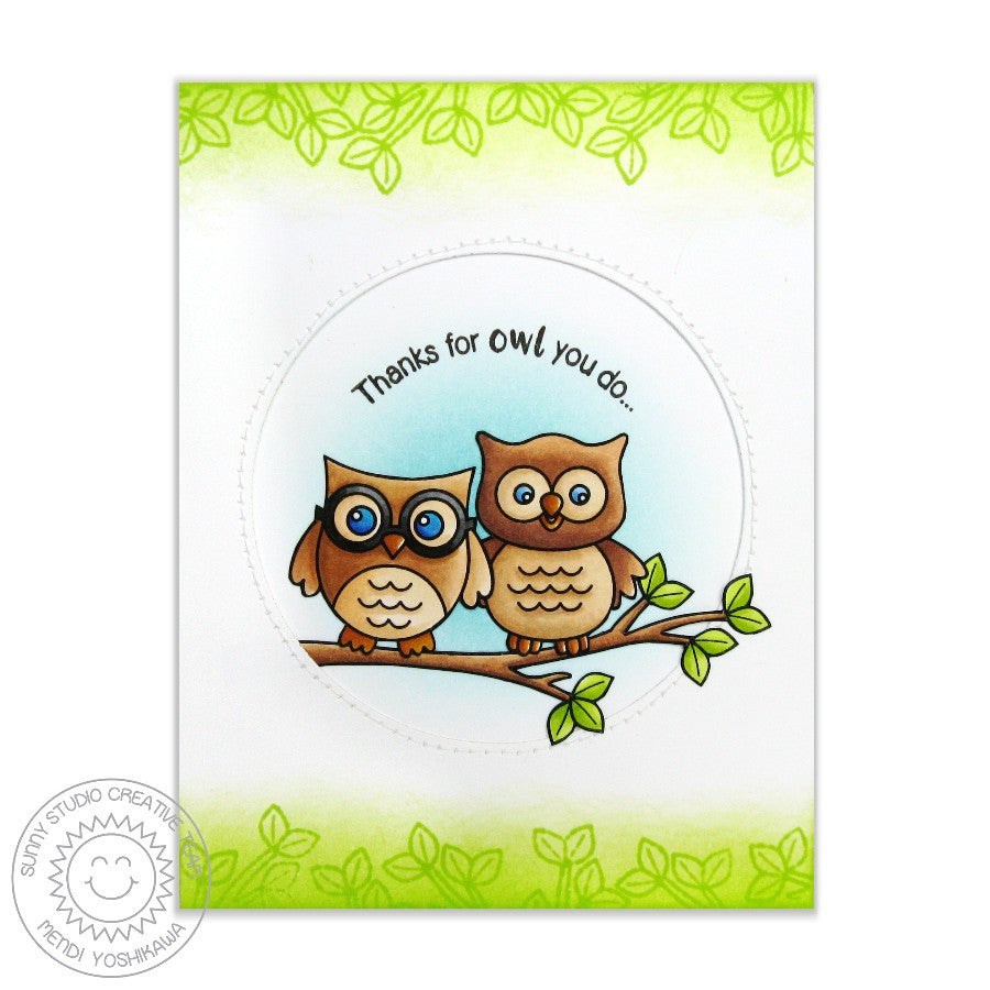 Sunny Studio Stamps Happy Owl-o-ween & Woo Hoo Two Owls Card