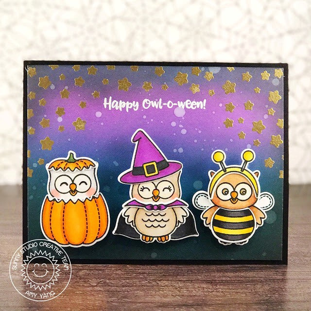 Sunny Studio Stamps Happy Owl-o-ween 3 Costumed Owls Card