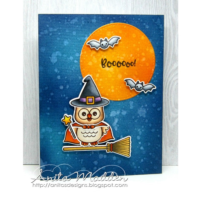 Sunny Studio Stamps Happy Owl-o-ween Witch with Full Moon Card