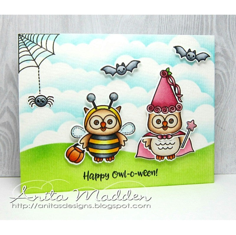 Sunny Studio Stamps Happy Owl-o-ween Princess & Bumblebee Trick or Treat Card