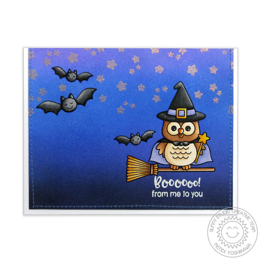 Sunny Studio Stamps Happy Owl-o-ween Witch on Broomstick Halloween Card