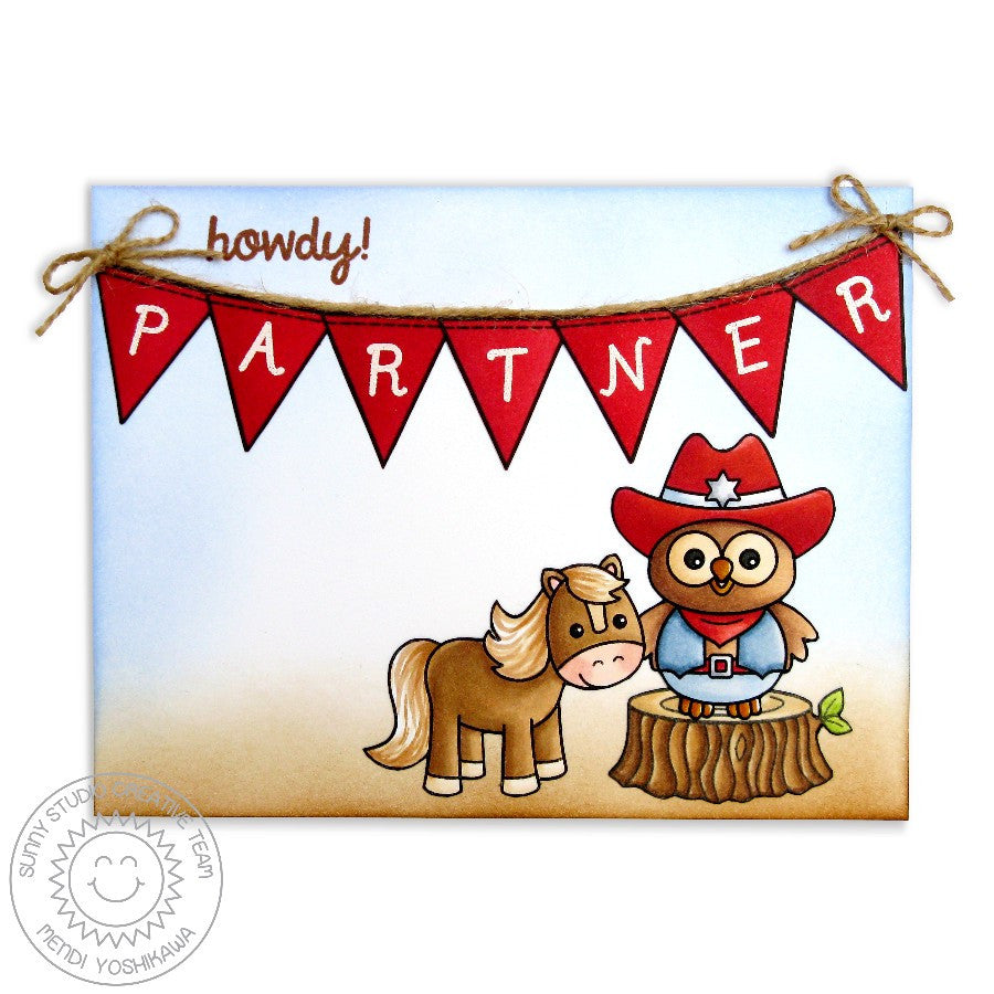 Sunny Studio Stamps Happy Owl-o-ween Howdy Partner Cowboy Card