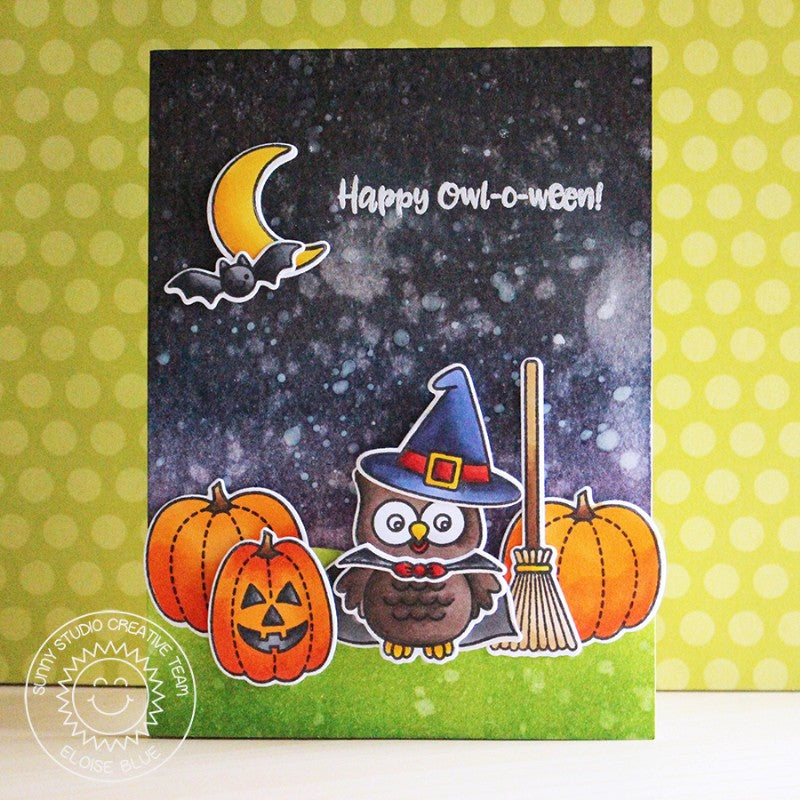 Sunny Studio Stamps Happy Owl-o-ween Witch in Pumpkin Patch Card