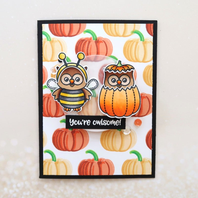 Sunny Studio Stamps Happy Owl-o-ween Owl in Pumpkin Card