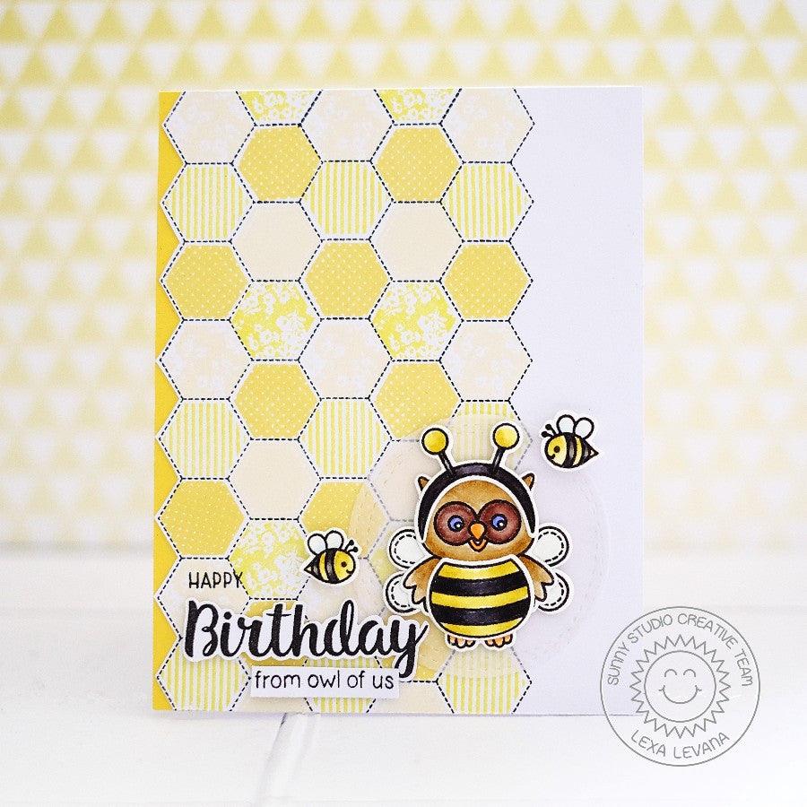 Sunny Studio Stamps Happy Owl-o-ween Bumblebee Honeycomb Birthday Card