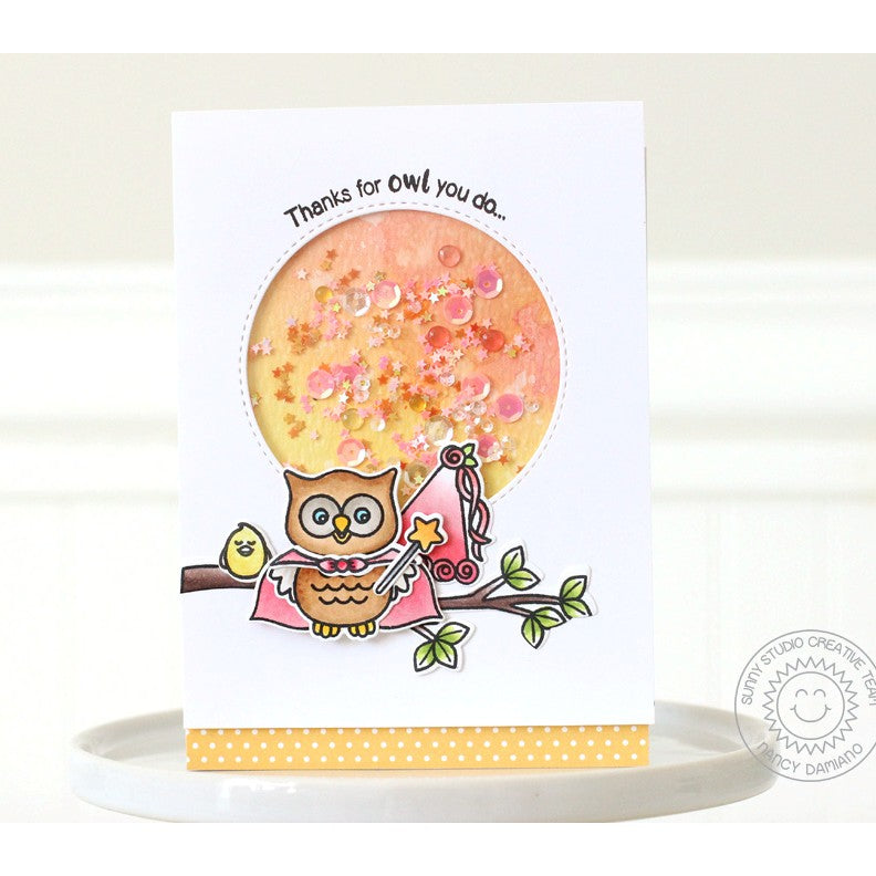 Sunny Studio Stamps Happy Owl-o-ween Princess Owl Shaker Card