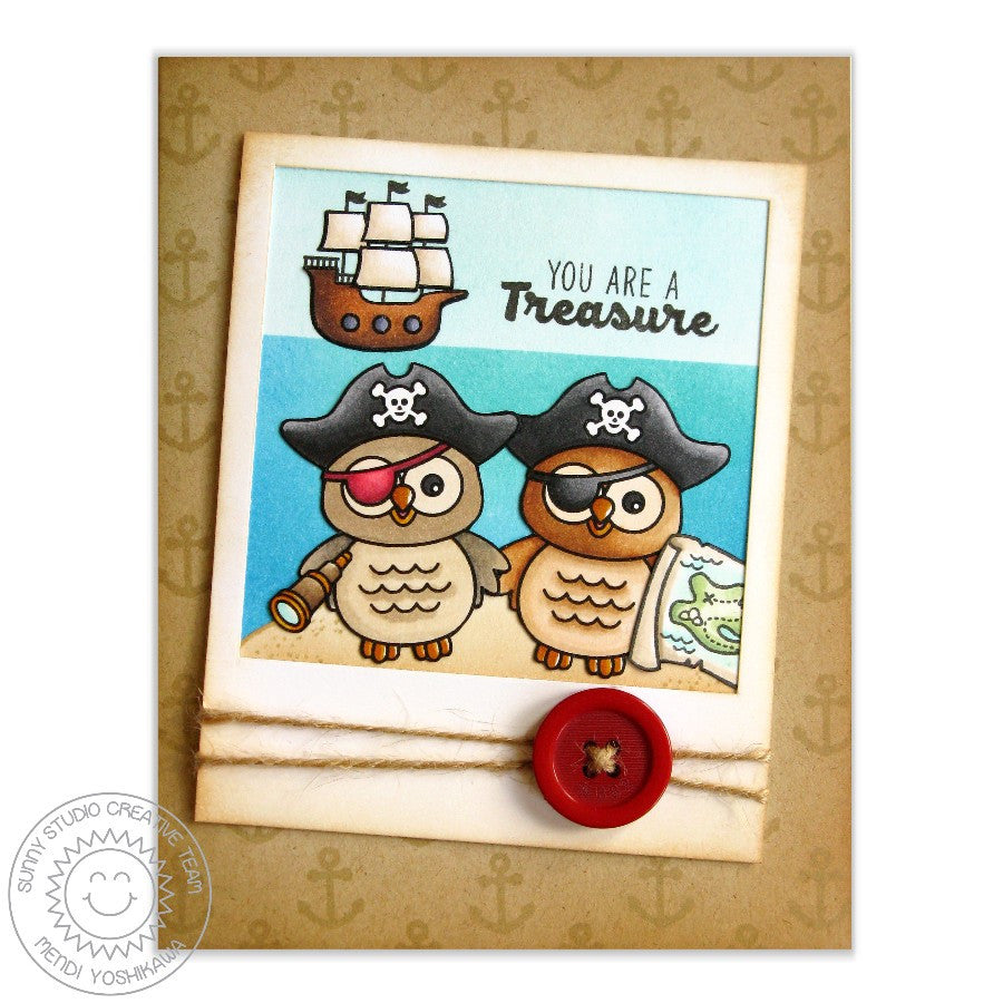 Sunny Studio Stamps Happy Owl-o-ween & Pirate Pals Polaroid Card