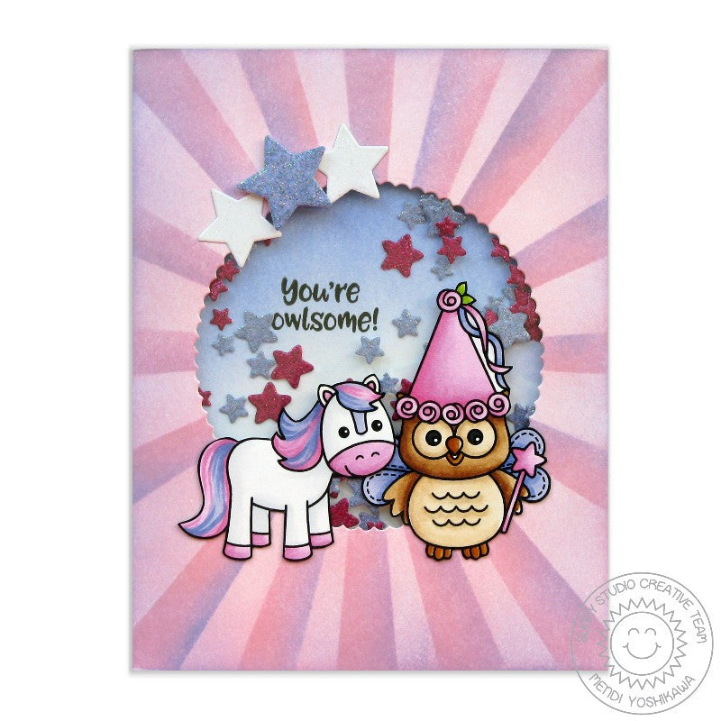 Sunny Studio Stamps Barnyard Buddies Pink Pony Princess Card