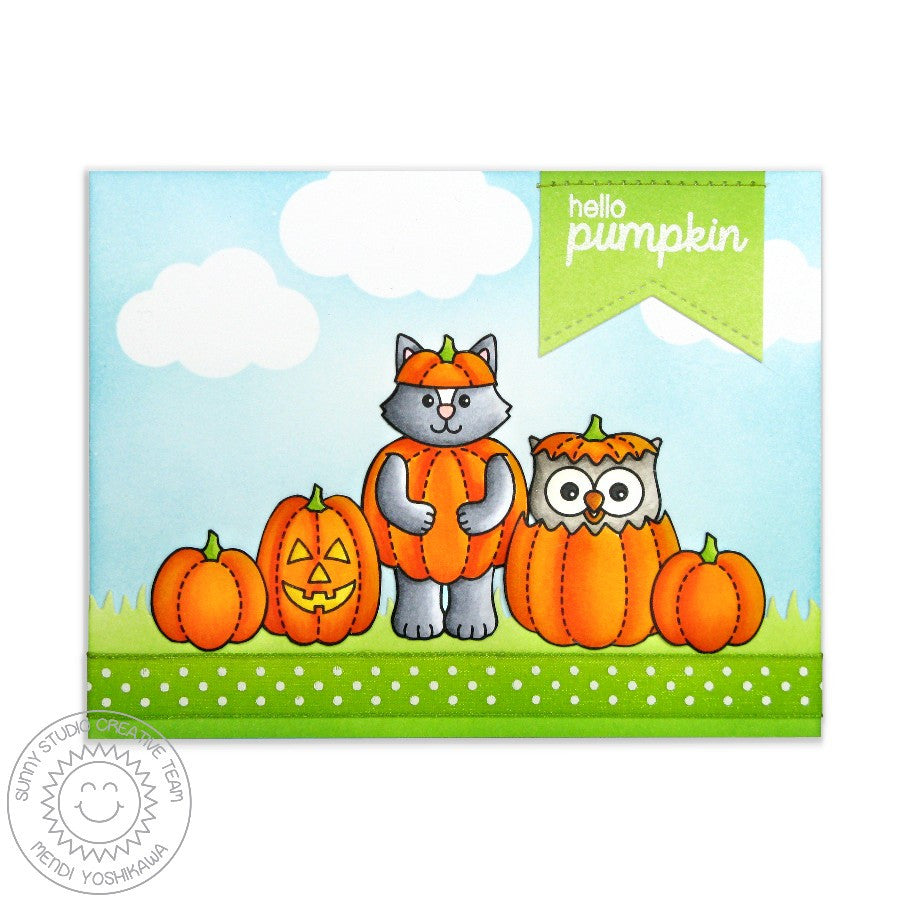 Sunny Studio Stamps Happy Owl-o-ween Fall Pumpkin Card