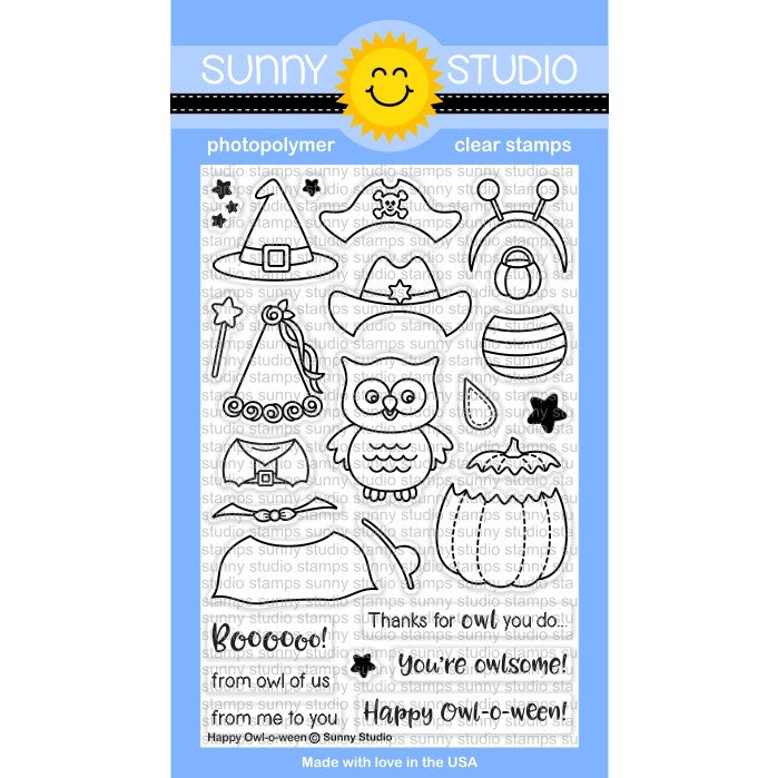 Sunny Studio Stamps Happy Owl-o-ween 4x6 Photopolymer Clear Stamp Set