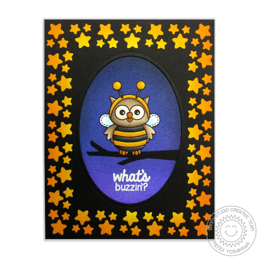 Sunny Studio Stamps Star Border Halloween Card (using exclusive Basic Mini Shape Dies II)