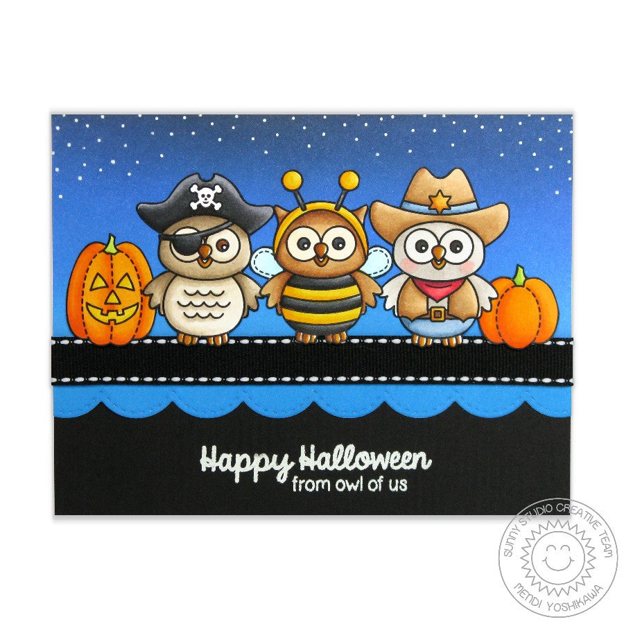 Sunny Studio Stamps Happy Owl-o-ween Trick-or-treaters Halloween Card