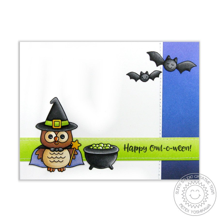 Sunny Studio Stamps Happy Owl-o-ween & Halloween Cuties Witch Card
