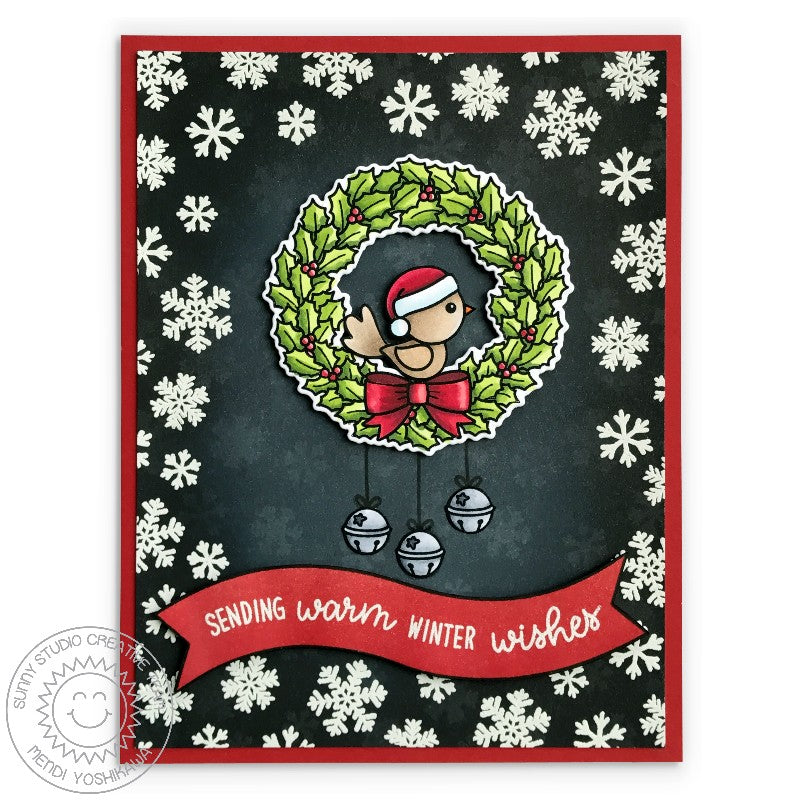 Sunny Studio Stamp Happy Owlidays Wreath Holiday Christmas Card with Black Snowflake Background