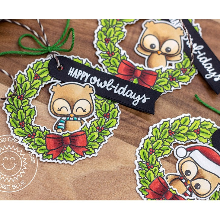 Sunny Studio Stamps Happy Owlidays Owl with Holly Wreath Christmas Gift Tags
