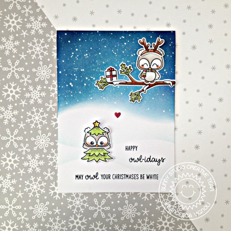 Sunny Studio Stamps Happy Owlidays Christmas Owl Holiday Card by Franci
