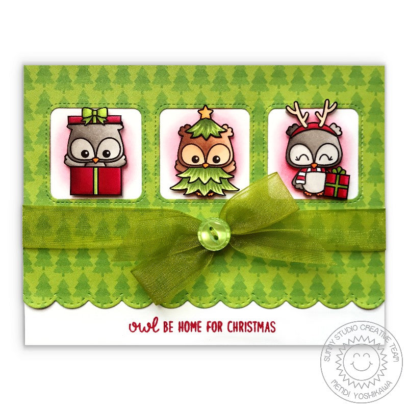 Sunny Studio Stamp Happy Owlidays Owls Dressed for the Holidays Christmas Card