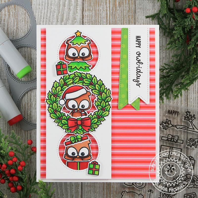 Sunny Studio Stamps Owl Christmas Card with Holly Wreath framed with Window Trio Circle Dies