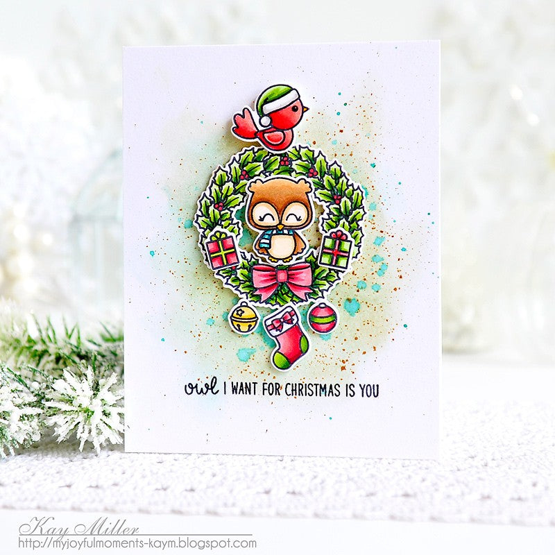 Sunny Studio Stamps Happy Owlidays Owl Watercolor Card by Kay Miller
