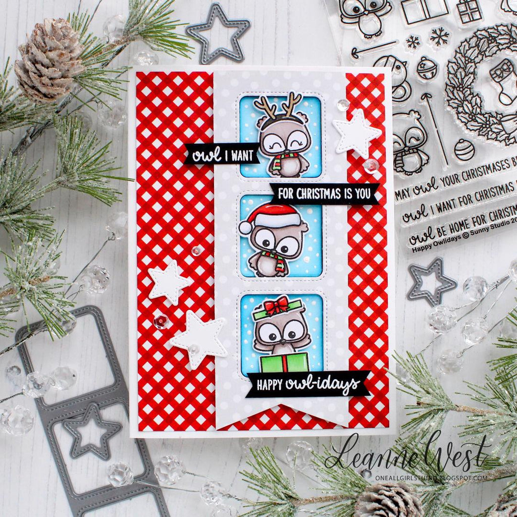 Sunny Studio Stamps Pennant Banner Owl Christmas Card with Peek-a-boo windows using Window Trio Square Dies