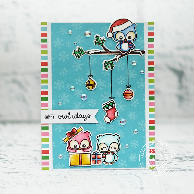 Sunny Studio Stamps Happy Owlidays Owl on Tree Branch with Ornaments Christmas Card by Lexa Levana