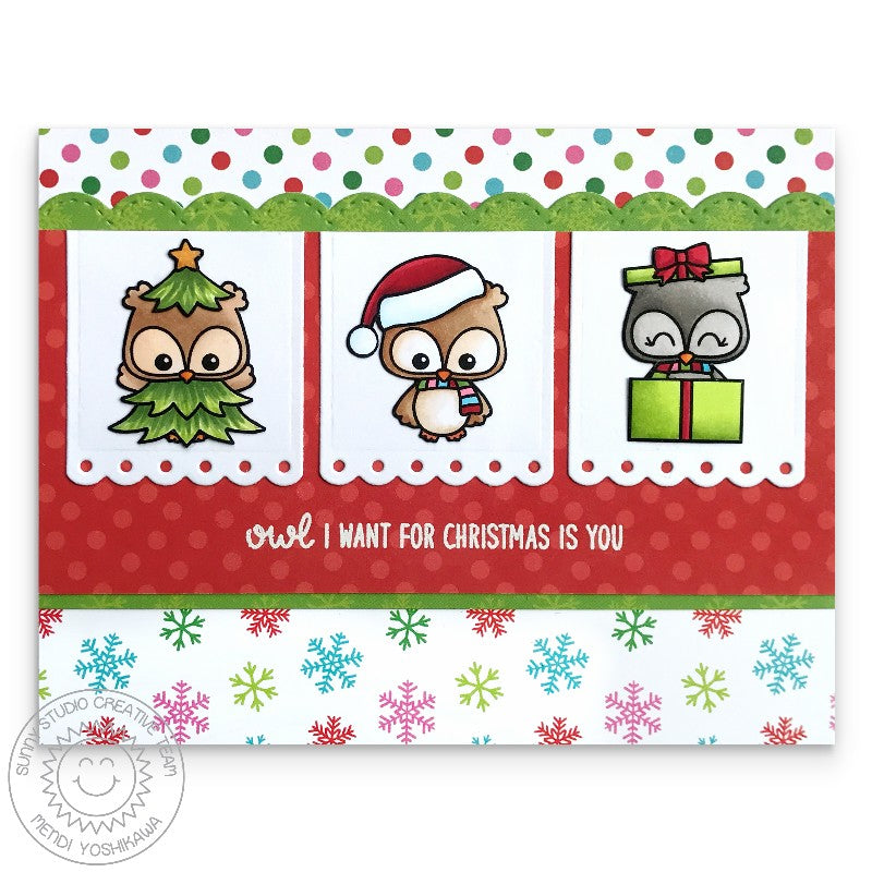 Sunny Studio Stamps Happy Owlidays Owl I Want For Christmas Is You Card by Mendi Yoshikawa
