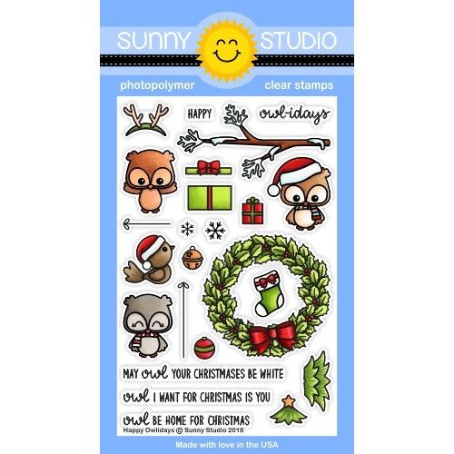Sunny Studio Stamp Happy Owlidays Christmas Owl 4x6 Clear Photopolymer Stamp Set