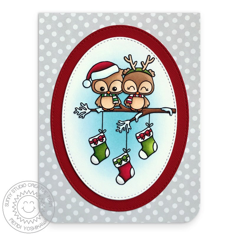 Sunny Studio Stamp Happy Owlidays Owl with Stockings on Tree Branch Holiday Christmas Card