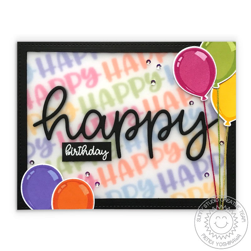 Sunny Studio Stamps Happy Thoughts Birthday Balloon Card by Mendi Yoshikawa
