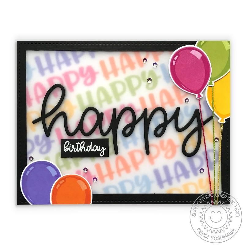 Sunny Studio Stamps Happy Birthday Balloon Card using Scripty Happy Large Word Die