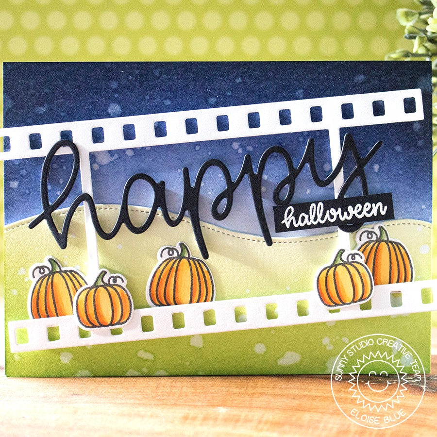 Sunny Studio Stamps Happy Halloween Pumpkin Card (using large Happy Word Script Die)