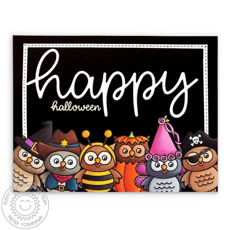 Sunny Studio Happy Halloween Owl in Witch, Cowboy, Bumblebee, Pumpkin, Princess & Pirate Costumes Card (using Happy Owl-o-ween Stamps)