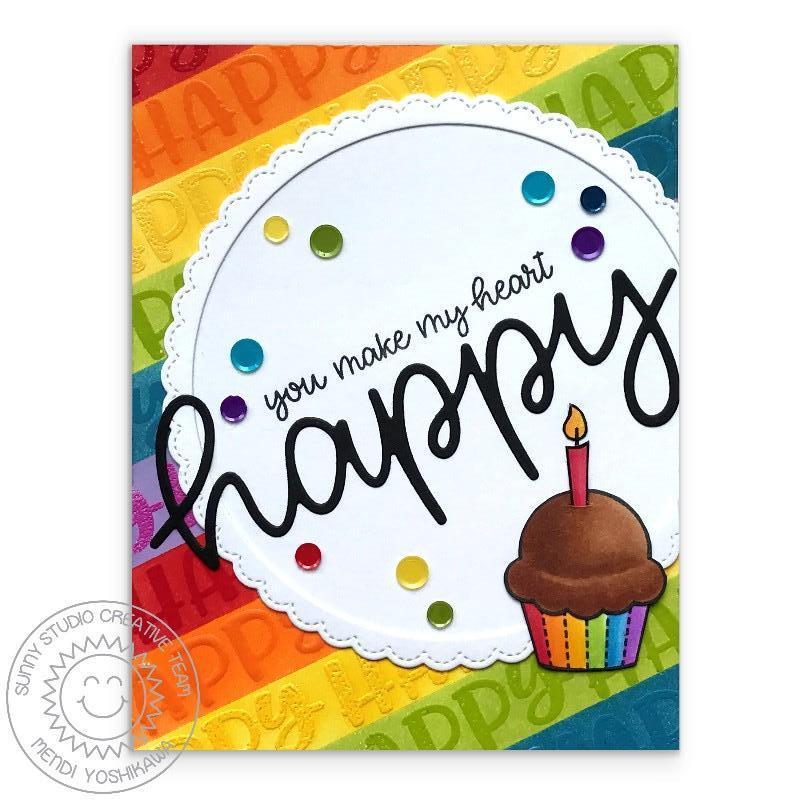 Sunny Studio Stamps Rainbow Striped Cupcake Birthday Card using Large Happy Word Die