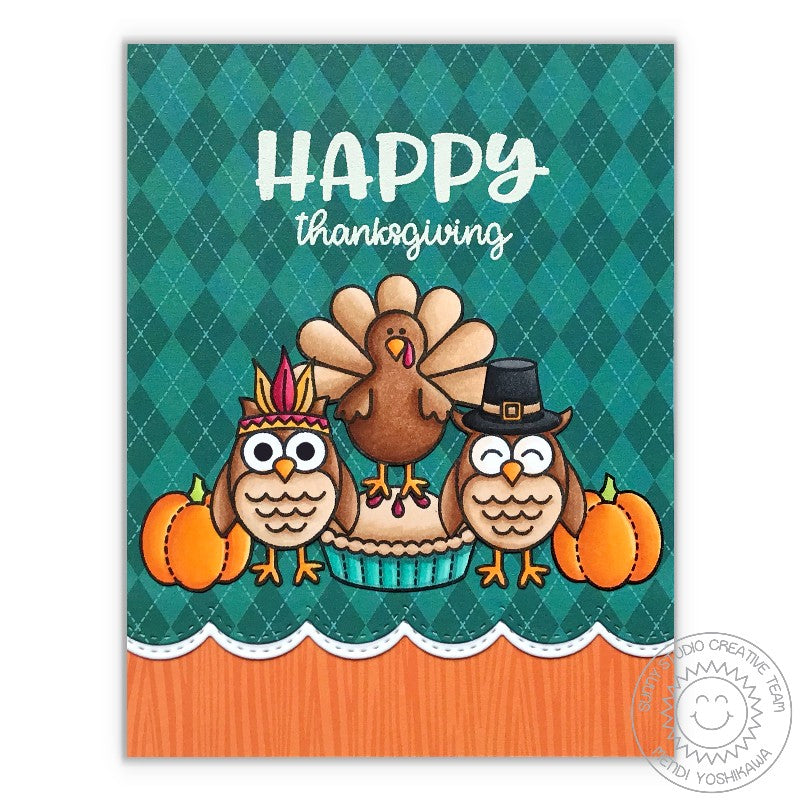 Sunny Studio Stamps Happy Thoughts Thanksgiving Turkey, Pilgrim & Indian Owl Card by Mendi Yoshikawa