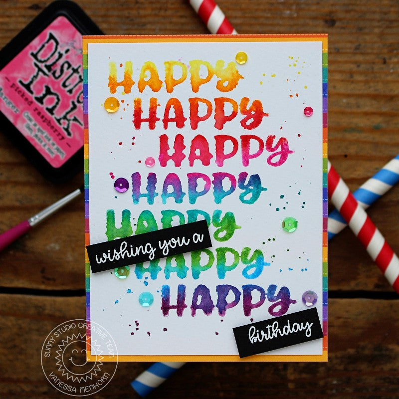 Sunny Studio Stamps Happy Thoughts Rainbow Birthday Card by Vanessa Menhorn