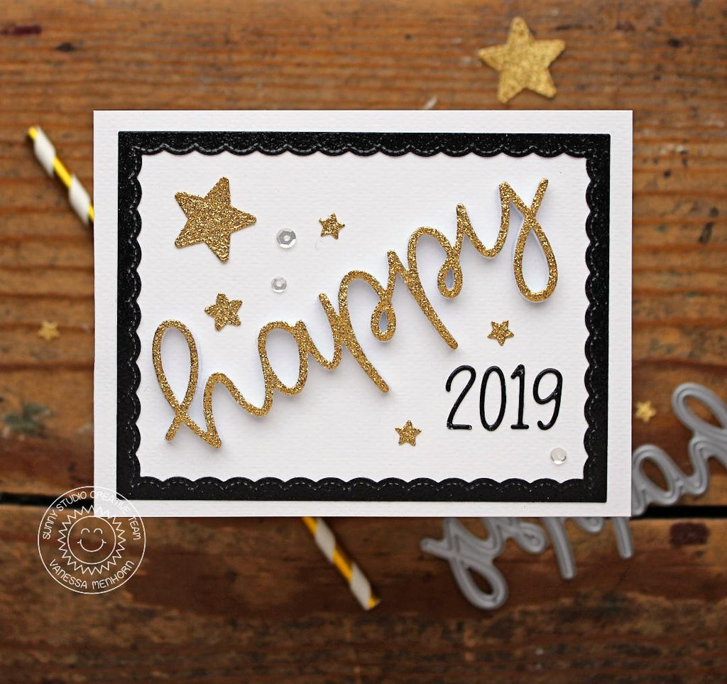 Sunny Studio Stamps Happy New Year Card (using Happy Script Over-sized word die)