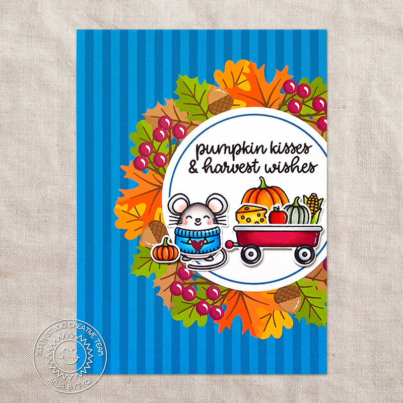 Sunny Studio Stamps Mouse with Pumpkin in Wagon Handmade Card featuring Fall Leaves with Blue Striped Print (using Colorful Autumn 6x6 Patterned Paper Pad)