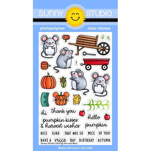 Sunny Studio Stamps Harvest Mice Autumn Fall Mouse 4x6 Clear Photopolymer Stamp Set featuring pumpkins, wheelbarrow, wagon and cornstalk