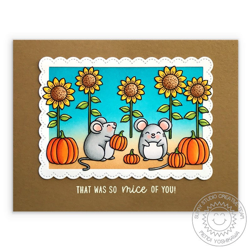 Sunny Studio That Was So Mice of You Punny Mouse with Pumpkins & Sunflowers Handmade Autumn Fall Themed Card (using Happy Harvest 4x6 Clear Stamps)