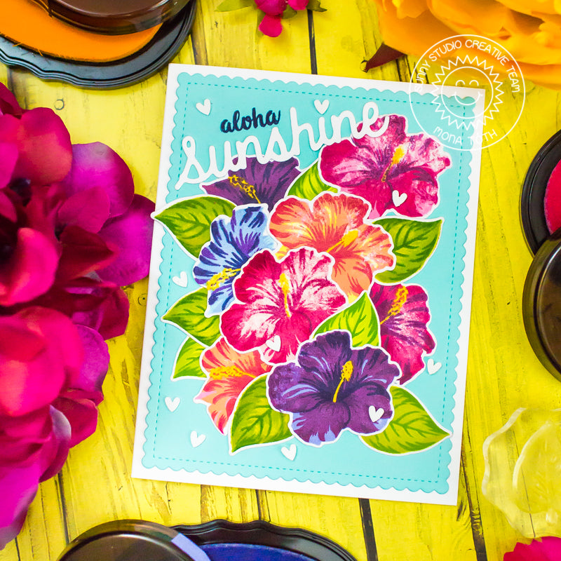 Sunny Studio Stamps Colorful Rainbow Colored Hawaiian Hibiscus Layered Flower Card by Mona Toth
