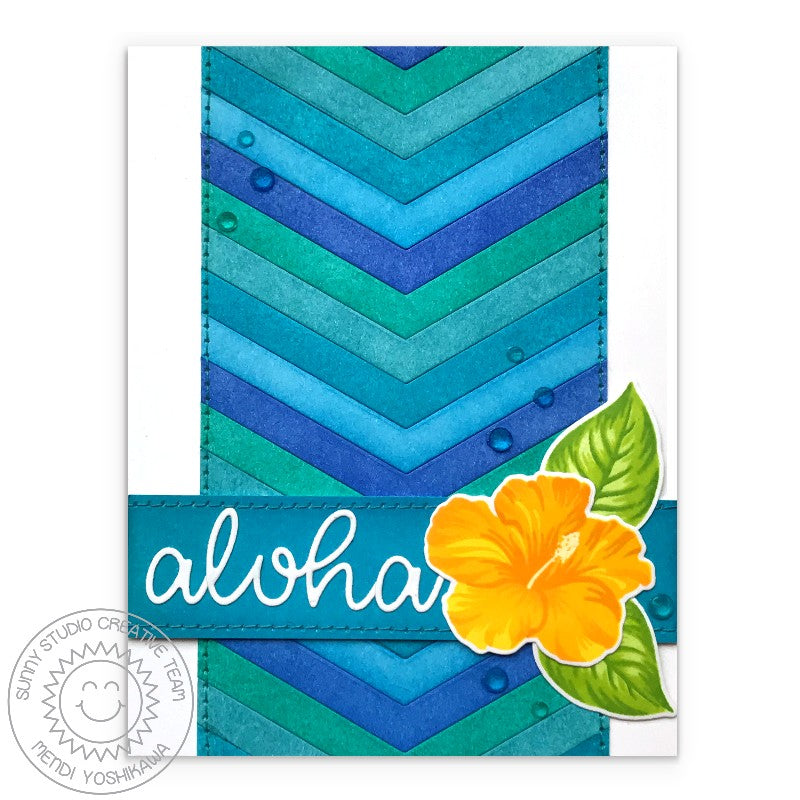 Sunny Studio Stamps Aloha Chevron Striped Layered Hydrangea Summer Card (featuring Crystal Clear Jewels)