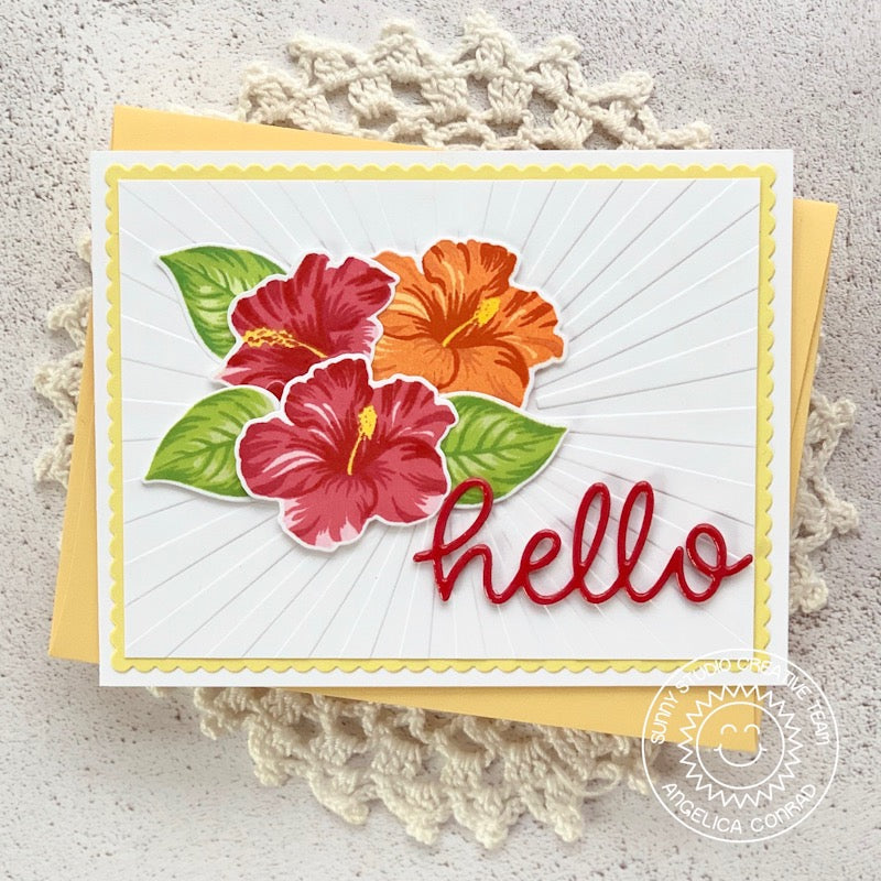 Sunny Studio Stamps Hello Hibiscus Handmade Card (using scripty hello word die)