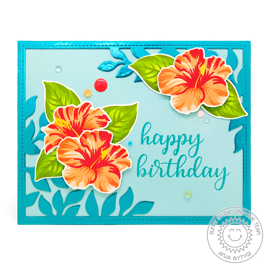 Sunny Studio Stamps Hawaiian Hibiscus Turquoise & Coral Layered Flower Birthday Card by Anja