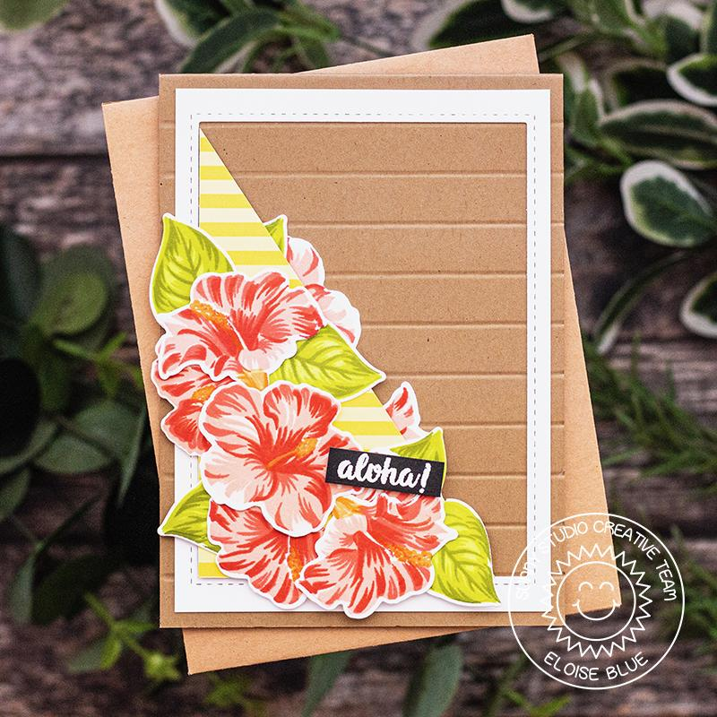 Sunny Studio Stamps Hawaiian Hibiscus Coral Layered Flower Kraft Card by Eloise Blue