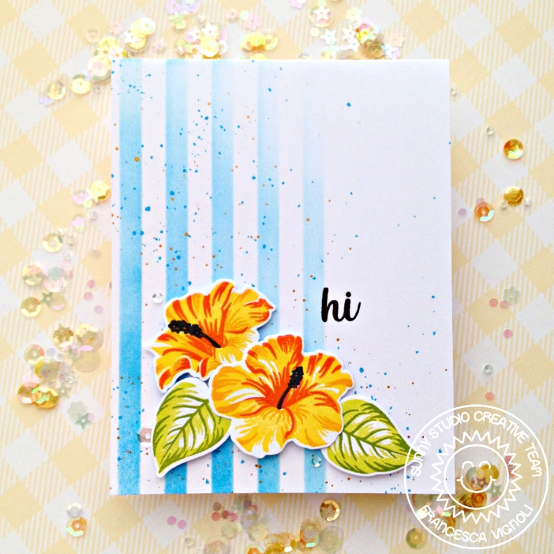 Sunny Studio Stamps Hawaiian Hibiscus Layered Flower Striped Card by Franci