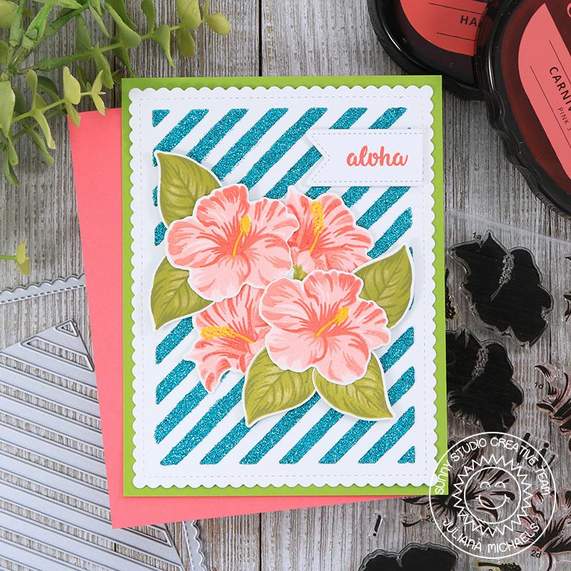 Sunny Studio Stamps Hawaiian Hibiscus Glittery Striped Card
