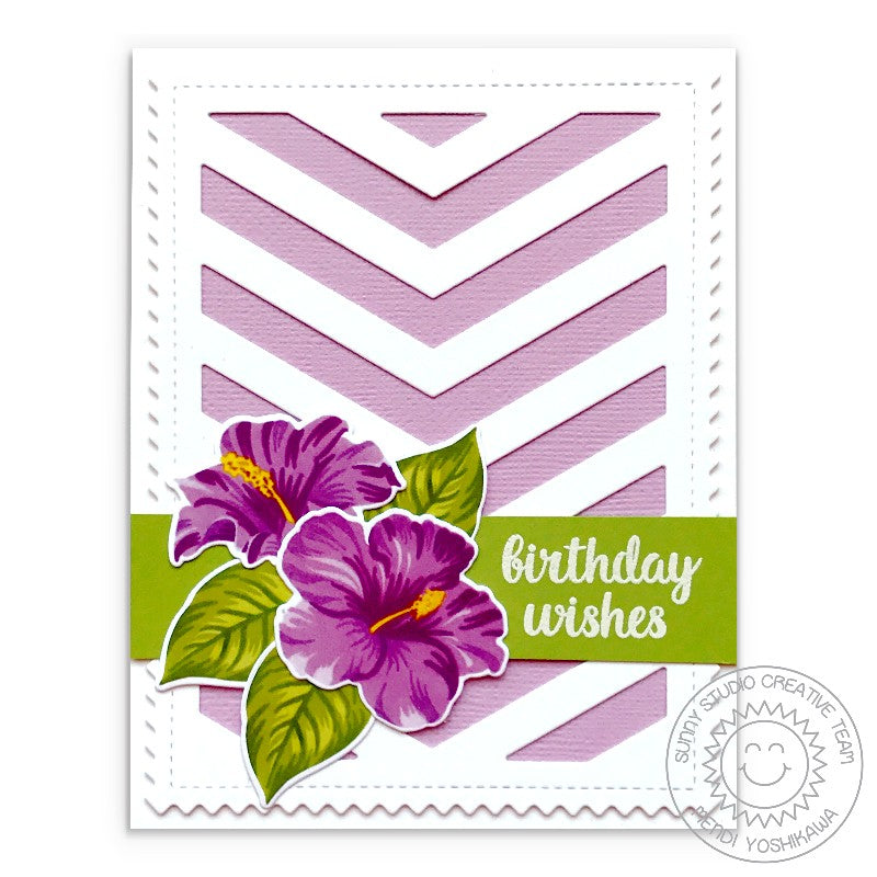 Sunny Studio Stamps Lavender Lilac Hibiscus Birthday Card (using Frilly Frames Chevron Dies)