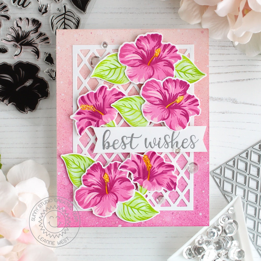Sunny Studio Stamps Hawaiian Hibiscus Layered Flower Card by Leanne West (using Frilly Frames Lattice Dies)