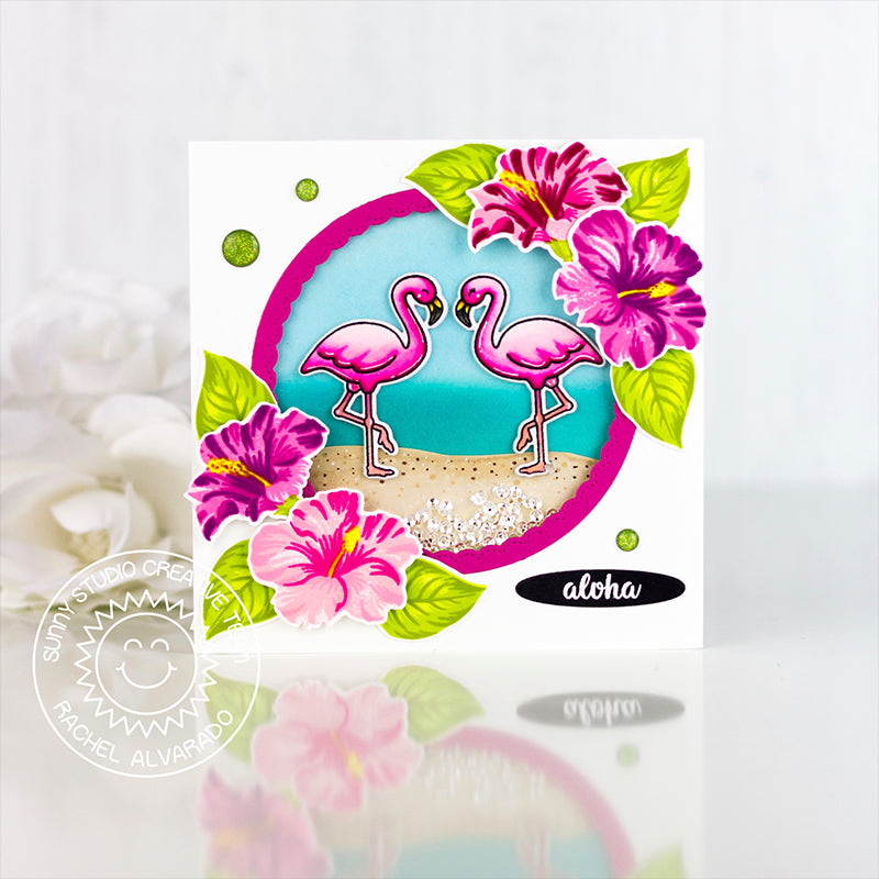 "Sunny Studio Stamps Hawaiian Hibiscus Hot Pink Layered Flowers with Flamingos ""aloha"" Card by Rachel"