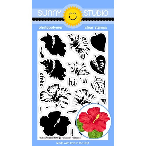 Sunny Studio Stamps Hawaiian Hibiscus Layered Flower 4x6 Clear Photopolymer Stamp Set